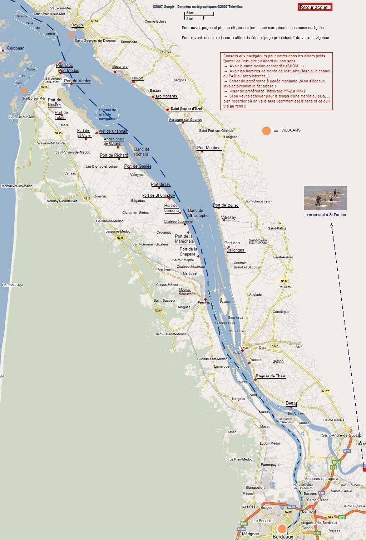 estuaire de la gironde carte carte estuaire interactive